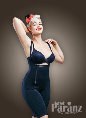 Open-bust style side zipper closure thigh compression underwear body shaper in blue new