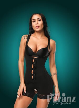 Open-bust style strappy sleeve hook-zipper closure plus size body shaper new views