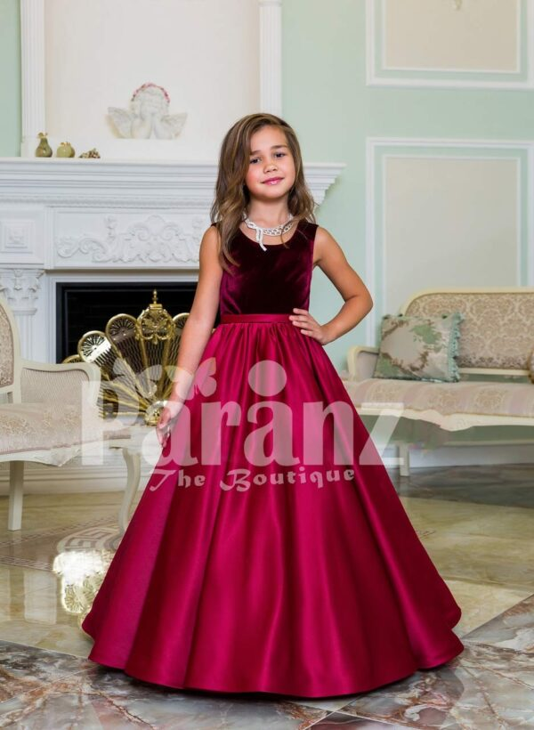 Purple velvet bodice exclusive baby gown with flared rich satin floor length gown in magenta