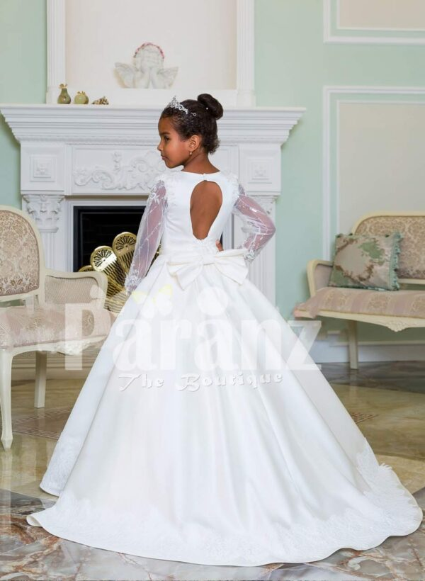 Rich pearl white floor length full sleeve baby gown with white elegant lace work back side view