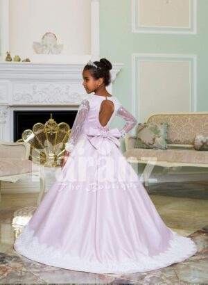 Rich satin full sleeve and white lace work floor length soft baby gown in light mauve back side view
