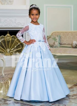 Rich satin super shiny flared pleated tulle underneath skirt baby gown in metallic sky blue