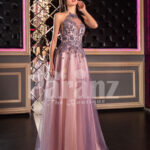 Super stylish & elegant off-shoulder evening party gown with side slit tulle skirt