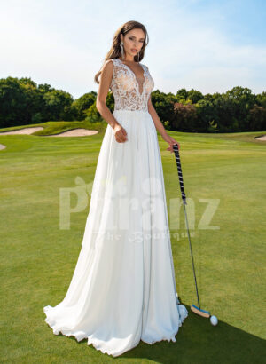 Women's all white super glam wedding tulle gown with elegant lacy bodice