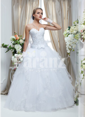 Women's classy pearl white off-shoulder wedding gown with flared tulle skirt and royal bodice