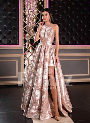 Women's floor length side slit glossy rich satin rosette appliquéd evening party dress
