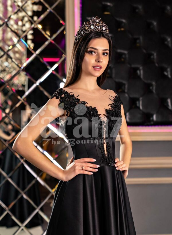 Women's glam black rich satin evening party gown with side slit skirt and lacy bodice