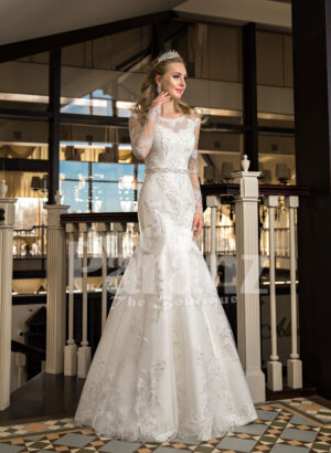 Women's mermaid styled rich satin wedding gown with rich pearl and rhinestone works