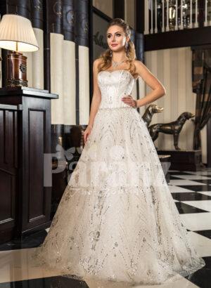 Women's off-shoulder celebrity style glam glitz tulle skirt wedding gown