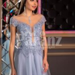 Women's off-shoulder style princess like evening party gown with tulle skirt