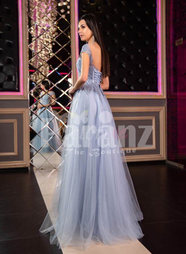 Women's off-shoulder style princess like evening party gown with tulle skirt back side view