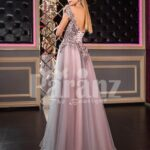 Women's off-shoulder style rich satin-tulle side slit evening gown in pink-purple side view