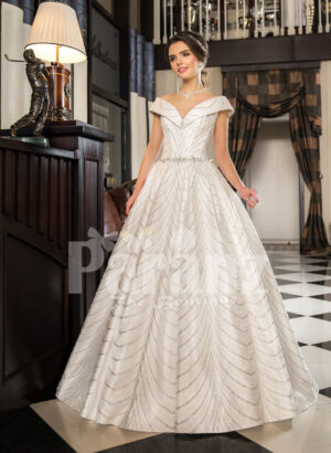Women's off-shoulder super stylish rich satin flared wedding gown with tulle skirt underneath
