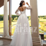 Women's pearl white elegant side slit tulle skirt wedding gown with royal bodice back side view