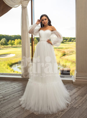 Women's pearl white off-shoulder glam tulle frill wedding gown