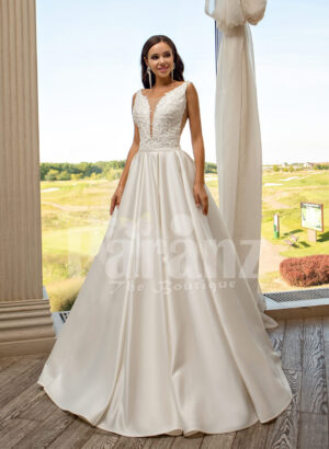 Women's pearl white rich satin flared skirt wedding gown with tulle skirt underneath