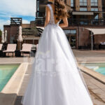 Women's pearl white side slit tulle wedding gown with stunning lacy bodice back side view