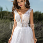 Women's pearl white side slit tulle wedding gown with stunning lacy bodice close view