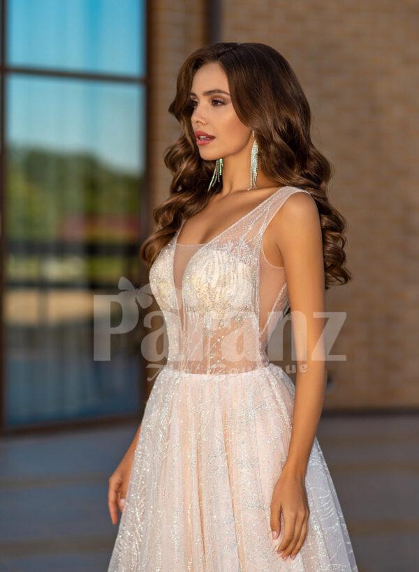 Women's sleeveless power pink glitz glam tulle wedding gown close view