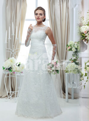 Women's sparkling white rich satin floor length wedding gown with tulle skirt underneath