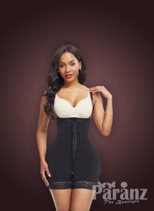 Women's super slimming adjustable fabric underwear full body shaper in black new