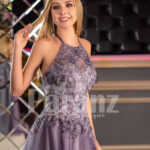 Women's super stylish off-shoulder flared tulle skirt gown in metal purple