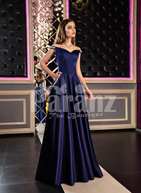 Womens elegant navy blue smooth satin evening gown with off-shoulder bodice