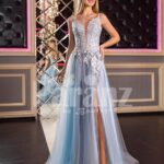 Womens sleeveless floor length tulle gown with floral appliquéd royal bodice