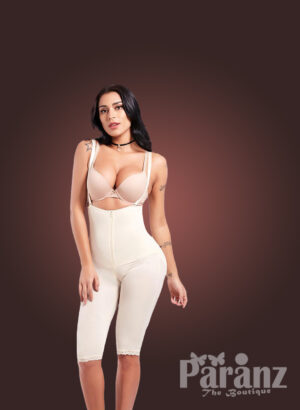 Open bust style tummy slimming body shaper with front zipper closure