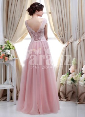 Women's small cap sleeve royal bodice evening gown with light pink long tulle skirt side view