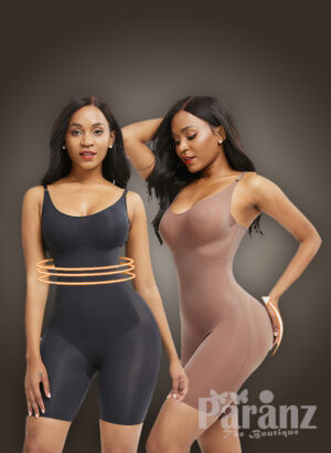 Women's strappy tummy slimming and butt lifter full body shaper in black and beige