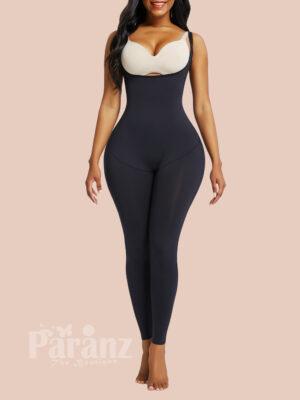 Black Full Body Shaper Open Bust Adjustable Straps Abdominal Control