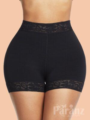 Black High Waist Lace Butt Enhancer Panty Firm Control