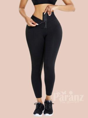 Black High Waist Pant Waist Trainer Leggings Full Length Good Elastic