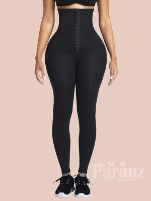 Black Pockets Shape Leggings High Waist 3 Hooks Good Elastic