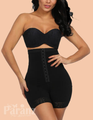 Black Queen Size Lace Hemline Tummy Control Butt Lifter Soft-Touch