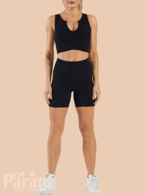 Black Sleeveless Crop Seamless Yogawear Outfit Workout Clothes