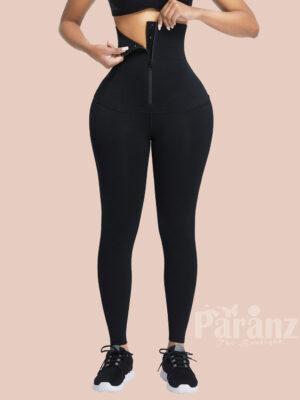Black Waist Trainer 2-In-1 Leggings With Zipping Flatten Tummy