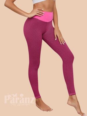 Cheeky Pink High Rise Leggings Full Length Ladies Sportswear side views