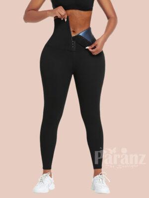 Dark Blue Neoprene Butt Lifting Leggings Wide Waistband Fitness