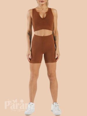 Dark Brown Low Neck Sports Bra And Seamless Shorts Set Comfort