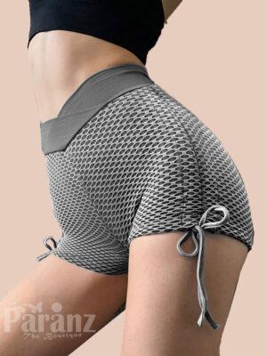 Exotic Gray Drawstring Sports Shorts Honeycomb Athletic Outfit