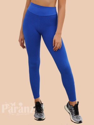 Exquisitely Blue Ankle Length Wide Waistband Leggings For Girl