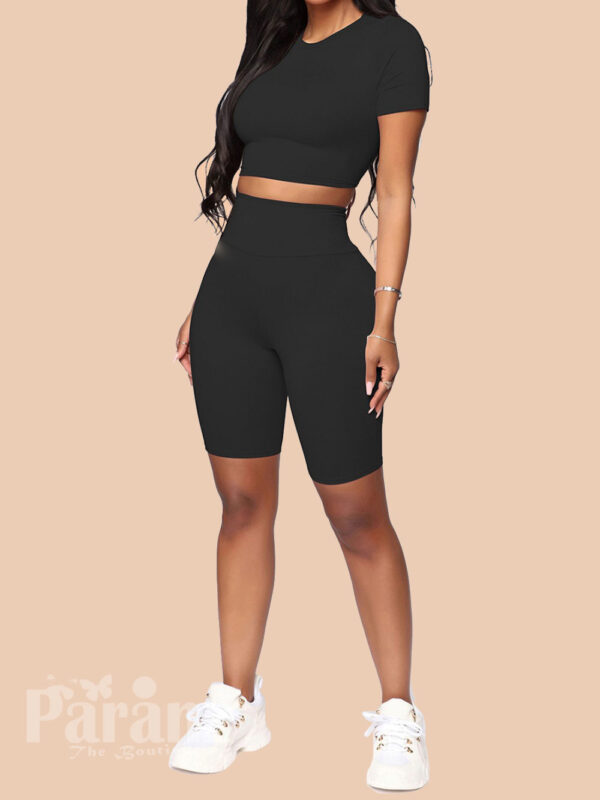 Flattering Black Solid Color Sweat Suit High Rise Women's