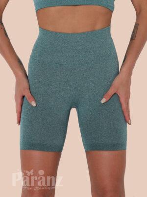 Green Knit High Waist Seamless Sports Shorts Women Fashion Style