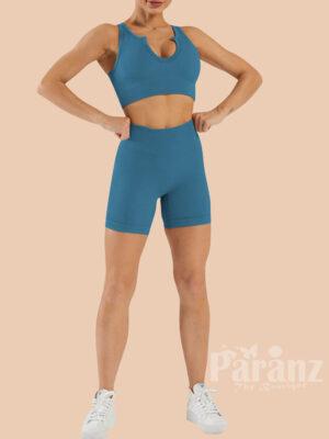 Lake Blue Crop Yoga Shorts Suit Seamless High Waist Wholesale
