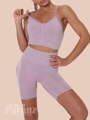 Light Purple Wide Waistband Adjustable Strap Sports Suit Tight