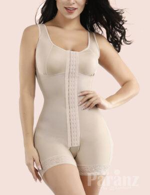 Nude Glue Wide Straps Lace Crotchless Big Size Full Body Shapewear