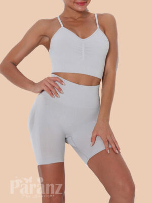Off White Yoga Suit Sling Solid Color U-Neck Ultimate Comfort view
