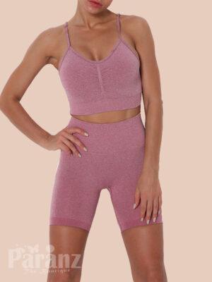 Pink Athletic Set High Wasit Spaghetti Strap Sensual Silhouette